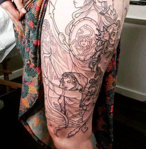 Tattoo of Alphonse Mucha's art