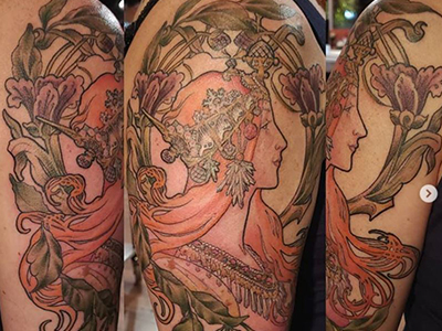 Art forever – inspirational tattoos of Mucha's art