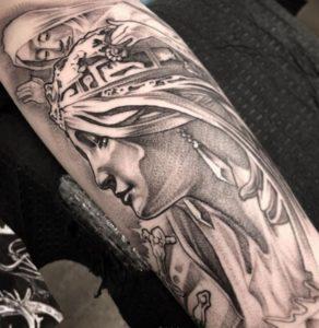 Tattoo of Alphonse Mucha's art 1